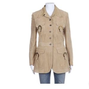 Valentino suede leather beige tan jacket 10 Large
